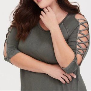 Torrid Super Soft Knit Top Olive Green Criss Cross
